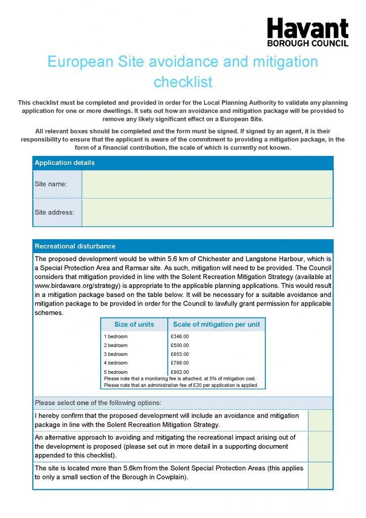 European Site avoidance and mitigation checklist for Havant Borough Council